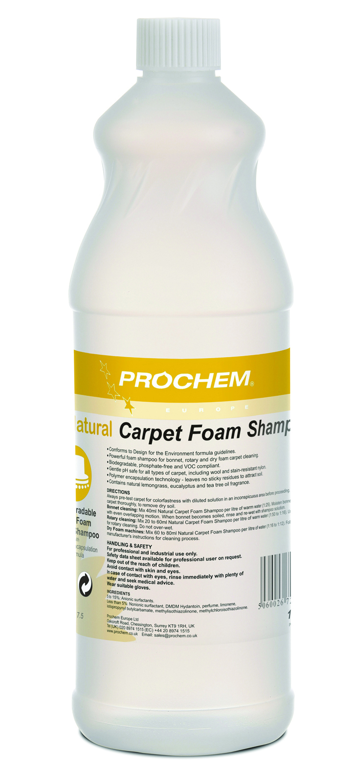 Natural Carpet  Foam Shampoo 1 x 1 Ltr