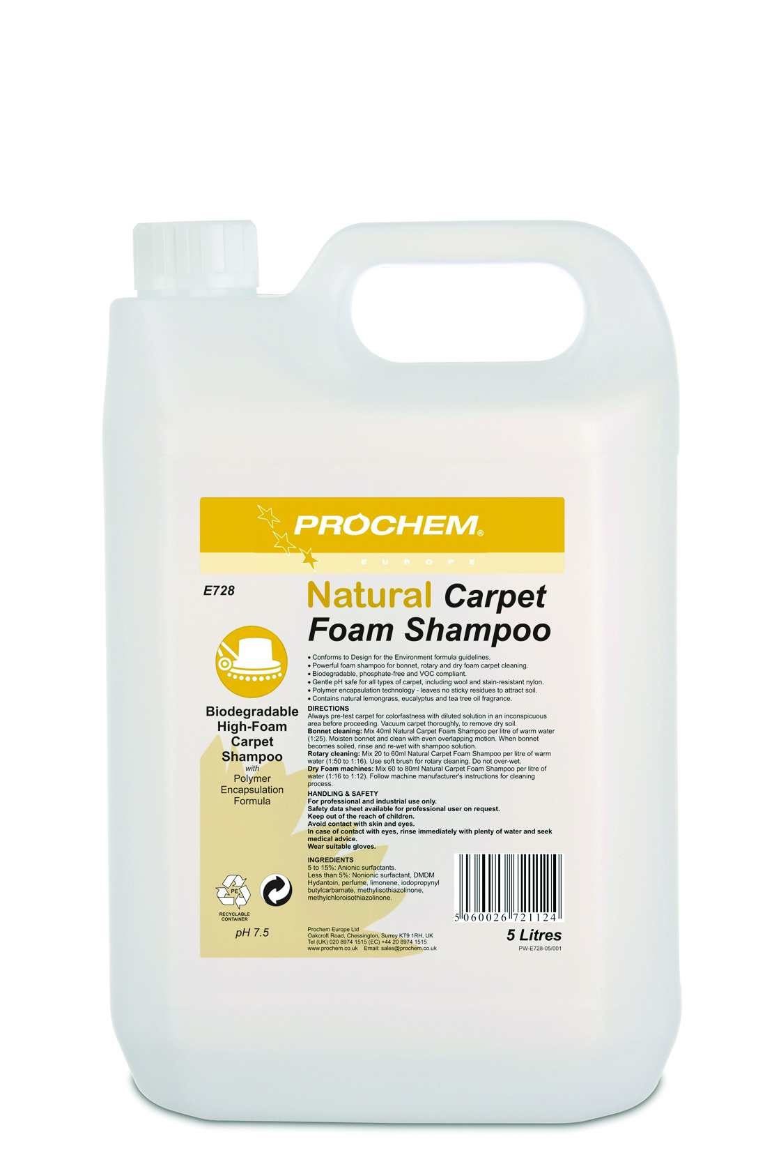 Natural Carpet  Foam Shampoo 1 x 5 Ltr