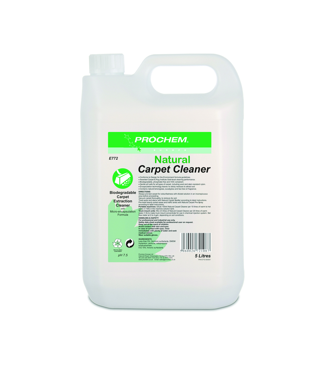 Natural Carpet Cleaner 1 x  5 Ltr